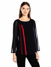 Armani Exchange Women's Sheer Long Sleeve Red Stripe Detailing Shirt, Perfect