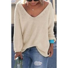 Women Pullover Sweater Long Sleeve V-neck Thin Sweater Tops Pullover Pull Femme