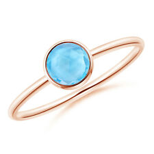 Solitaire Round Swiss Blue Topaz Ring in 14k Rose Gold/ Silver Size 3-13