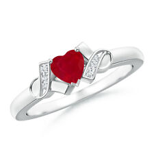 Solitaire Heart Shaped Ruby Diamond Ring 14k White Gold