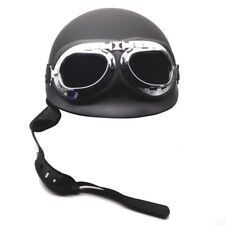 DOT German Matte Black Motorcycle Half Face Helmet Pilot Goggles M L XL Cruiser