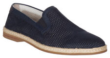 Dolce & Gabbana Men's Navy Blue Suede Perforated Loafers Slip On Flats Shoes