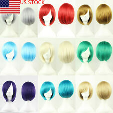 US Women Ladies Short Straight Synthetic Hair Bob Cosplay Wigs Color Available