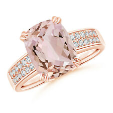 14K Rose Gold Prong-Set Cushion Morganite Cocktail Ring with Diamond Accents