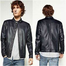ZARA Navy Blue Faux Leather Perforated Bomber Jacket Man Authentic BNWT 3548/356