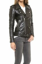 Womens VTG Classic Biker Style Brando Real Leather Ladies Quilted Fashion Jacket