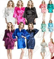 Women Plain  Kimono Robe Silk Satin Dressing Gown Bridesmaid Wedding Robe &