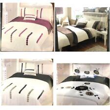 Duvet cover set 5 pc bed in a bag bedding cushion runner Size Single Double