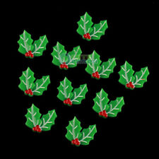 10pcs Lovely  X'mas Holly Leaves Green Resin Flatback Girl Hair Bow Center Craft