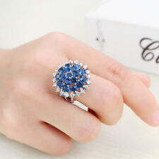 NEW Fashion Round Sapphire Zircons 18K Gold Filled Lover Engagement Wedding Ring