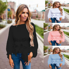 Fashion Women Ladies Casual Long Sleeve T Shirt Summer Loose Tops Bandage Blouse