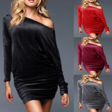 Cocktail Party Club Dress Fashion Womens Velvet Velour Long Sleeve Batwing Tunic
