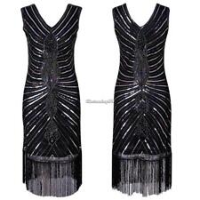 Women Vintage Style Sequin Fringed Evening Party Club Pencil Dress C1MY