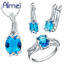 Wedding Jewelry Set Silver Blue Cubic Zirconia Necklace And Earring Rings Women