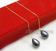 12*16mm Black Drop Sea shell pearl & Gold-Color silver s925 Ear Line Earring-653