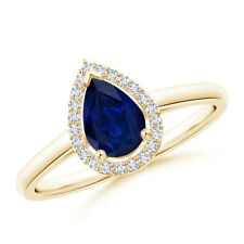 Diamond Halo Pear Shaped Blue Sapphire Cocktail Ring 14K Yellow Gold Size 3-13