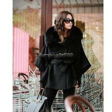 Women's Luxury Double Breasted Batwing Cape Poncho Coat Jacket Fur FF