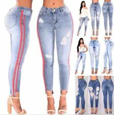 Women Denim Skinny Ripped Pants High Waist Tight Jeans Long Pencil Trousers