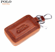 VICUNA POLO® Genuine Leather Mens Wallet Embossed Edge Cowhide Key Holder