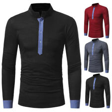 EG_ Men's Stand-up Collar Color Block Long Sleeve T-Shirt Casual Slim Fit Top Ch