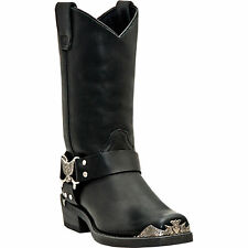 Dingo Mens Black Leather Chopper 12in Harness Snoot Toe Cowboy Boots