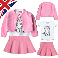 Cute Outfit Girls Kids Set White T-Shirt Pink Skirt and Jacket Age 2 3 4 5 6 7 8