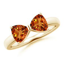 14K Yellow Gold Two Stone Trillion Cut Natural Citrine Bow Ring Size 3-13
