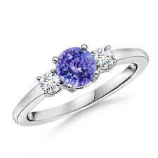 Classic Prong-Set Tanzanite & Diamond Three Stone Ring 14K White Gold Size 3-13