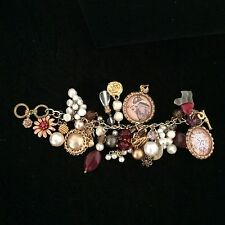 ALTERED ART VTG VICTORIAN STEAMPUNK JUNK CHARM BRACELET LOT 0F 1PC