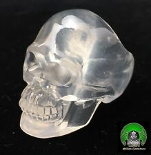 Natural Milky Quartz Carved Crystal Skull Ring SUPER REALISTIC