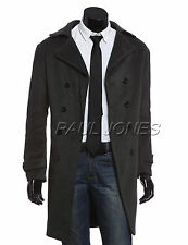 Black Men's Slim Fit Double Breasted Wool Blends Trench Long Coat 4 Size S~XL