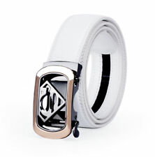 New Superman Fashion Mens Belts Automatic Buckle Genuine Leather Waistband White