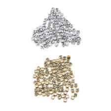 100 Metallic Acrylic Alphabets Letters Beads Cube Spacer Jewelry Making