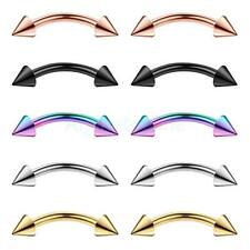 10Pcs 16G Curved Barbell with Spikes Eyebrow Ear Navel Belly Lip Piercing Ring