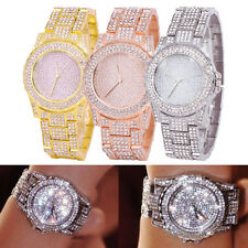 Luxury Ladies Bling Diamond Rhinestone Wristwatch Crystal Bracelet Quartz Watch
