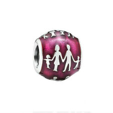 Family Bonds Authentic Sterling Silver Enamel Violet Charm bead for Mothers Day