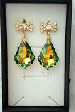 Gold Plated 925 Sterling Silver  made with Swarovski   Baroque Crystal  Earrings