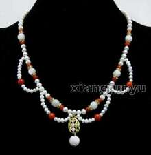 """4-6mm White Natural Pearl & Red Coral with Moonstone Penadant 17"""" necklace-n6429"""