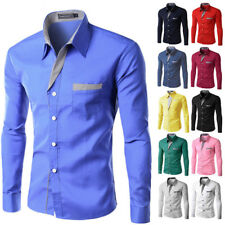 Casual Shirt Long Sleeve Mens Fashion Clothing Slim Fit Shirt