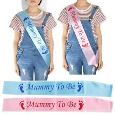 Pink Blue Mummy To Be Satin Sash Ribbon Banner Baby Shower Party New Mom Gift