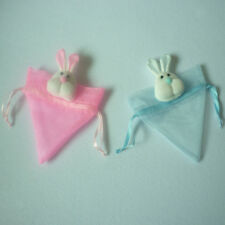 Triangle Organza Drawstring Bags Easter Bunny Candy Eggs Gift Bag Pink/Blue