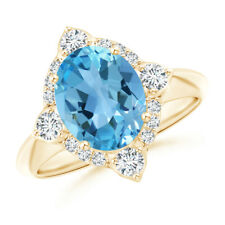 Oval Swiss Blue Topaz Compass Ring with Diamond Halo 14K Yellow Gold