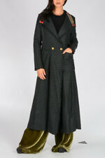 ETRO New Woman Green Wool Blend Coat with Embellished Collar Made in Italy NWT