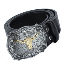 Western Cowboy Leather Belt Rodeo Cattle Head Belt Buckle Rider Motorcyclist