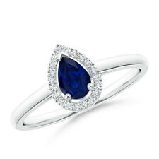 Diamond Halo Pear Shaped Blue Sapphire Cocktail Ring 14K White Gold