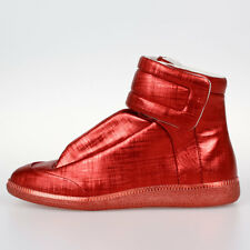 MAISON MARTIN MARGIELA MM22 New Woman Red Leather high Top Shoes Sneakers ITALY