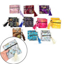 1Pc Tassel Packaging Bag Floral Fabric Bag Coin Purse Bag Silk Brocade Jewelry.