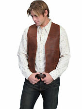 Scully Leather Mens Western Lambskin Button Front Vest Brown