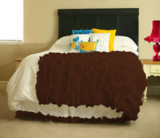 "15"" Drop White Bed Skirt with colored bottom ruffle 800 TC 100% Egyptian Cotton"
