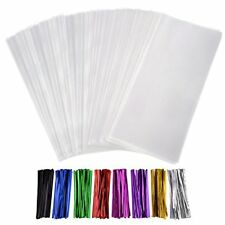 Outus 300 Pack Clear Treat Bags Cello with 320 Pieces Twist Ties 8 Colors for 5